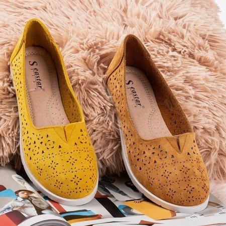 Ажурные лоферы горчичного цвета Rewita - Обувь