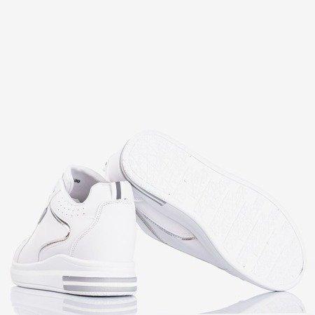 Бело-серебристые женские кроссовки на скрытой платформе  Marcja - Обувь