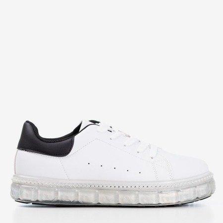 Бело-черные кроссовки на платформе с цирконами Mauria - Обувь