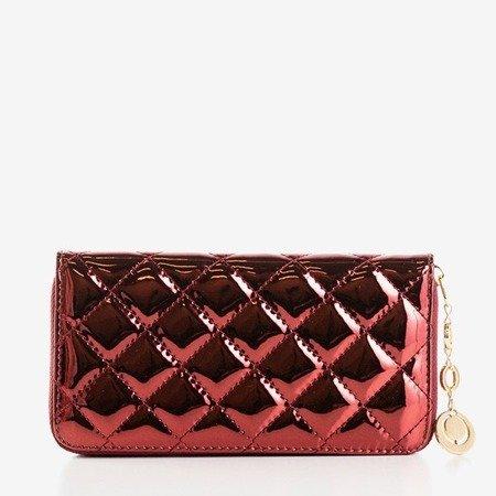 Большой женский кошелек бордового цвета со стеганой отделкой - Кошелек