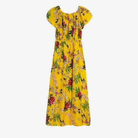 Желтое длинное платье с цветочным рисунком - Одежда