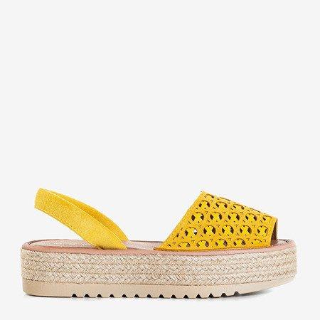 Желтые босоножки на ажурной платформе Tieva - Обувь
