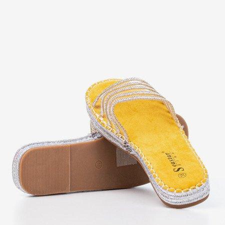 Желтые прозрачные тапочки с фианитом Noumeia - Обувь