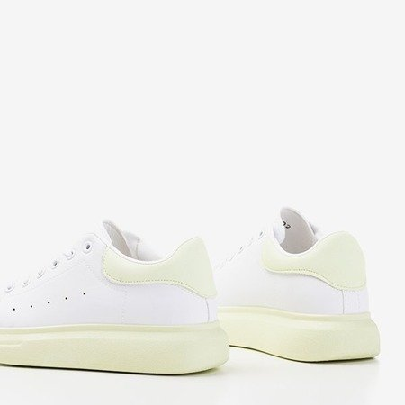 Женские белые спортивные туфли с зелеными вставками Gulio - Обувь
