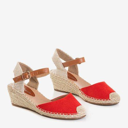 Женские красные босоножки на танкетке a'la espadrilles Blancoli - Обувь