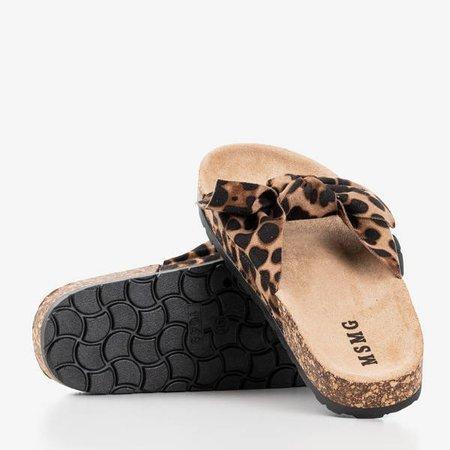 Женские сандалии с леопардовым бантом Солнце и веселье - Обувь