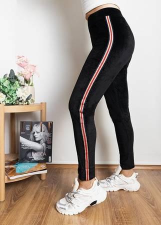 Женские черные леггинсы с цветными полосками - Одежда