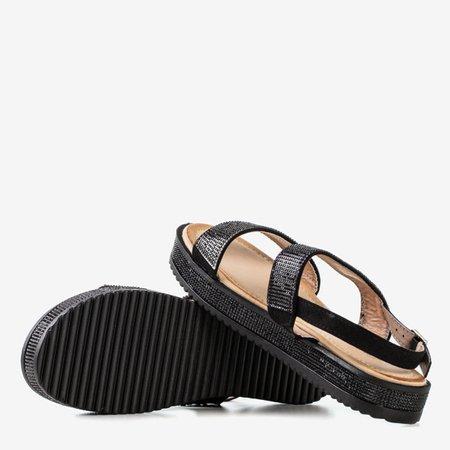 Женские черные сандалии с фианитом Arella - Обувь