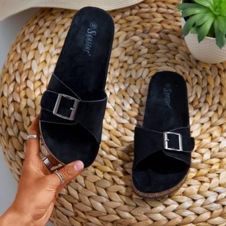 Женские черные тапочки с пряжкой Lovinka - Обувь