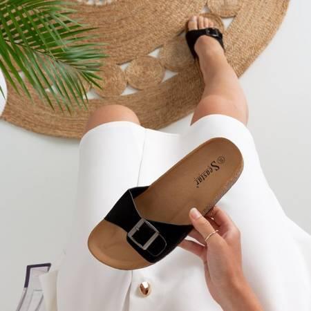 Женские черные тапочки с пряжкой Mosiu - Обувь