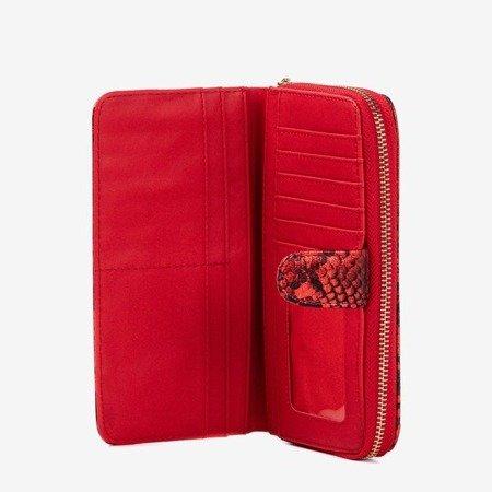 Женский кошелек с рисунком из кожи змеи красного цвета - Кошелек