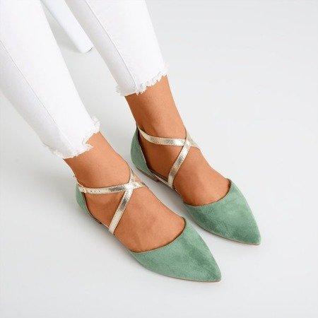Зеленые женские балетки на плоской подошве Vosia - Обувь