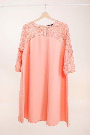 Коралловое платье с кружевной отделкой PLUS SIZE - Одежда