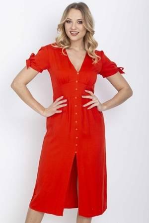 Красное платье миди с пуговицами - Одежда