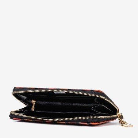 Красный лакированный женский кошелек с принтом - Кошелек