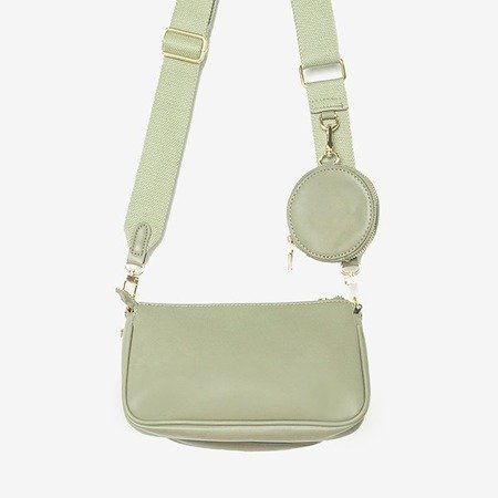 Маленькая женская сумка из трех частей зеленого цвета - Сумки