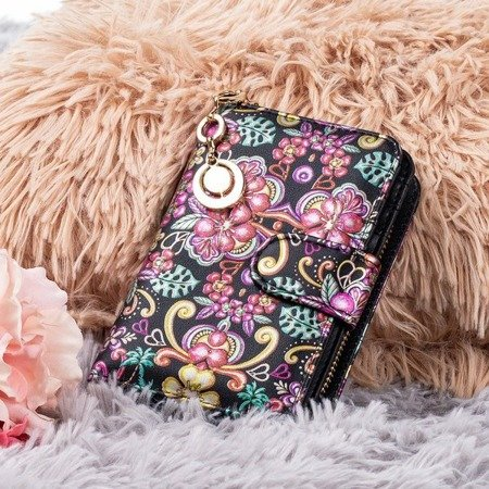 Маленький женский кошелек с рисунком черного цвета - Кошелек