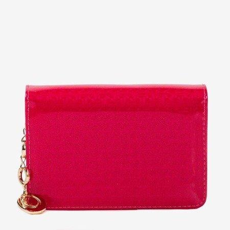 Маленький лакированный женский кошелек розового цвета - Кошелек
