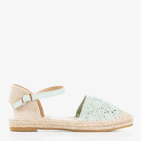 Мятные босоножки-эспадрильи с ажурным верхом Азия - Обувь