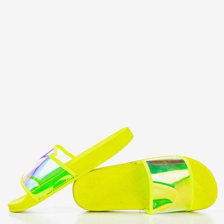 Неоново-желтые тапочки с голографической полосой Activi - Обувь