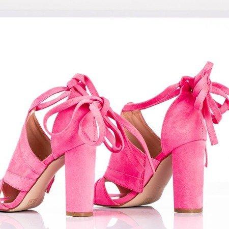 Неоново-розовые босоножки на высоком каблуке с голенищем Lanaline - Обувь