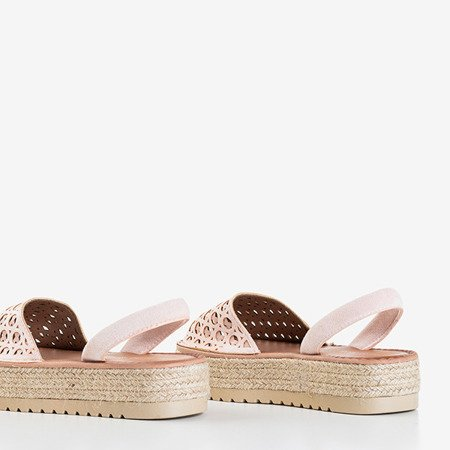 Светло-розовые ажурные босоножки на платформе Тиева - Обувь