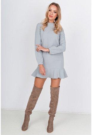 Светло-серое мини-платье с оборками - Одежда