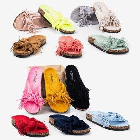 Светло-серые женские тапочки с бахромой Amassa - Обувь