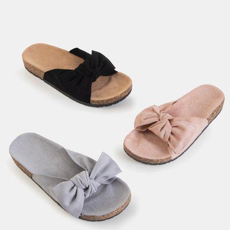 Серые женские тапочки с бантом «Солнце и веселье» - Обувь