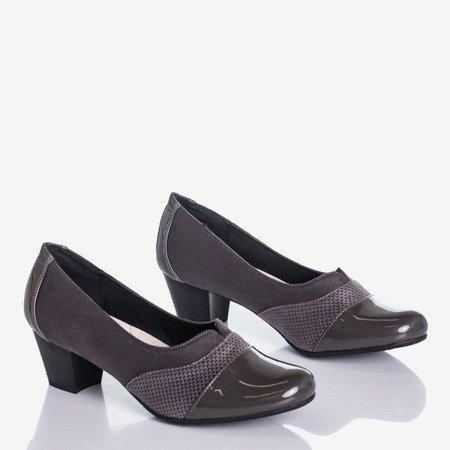 Серые женские туфли-лодочки на низкой стойке Saloma - Обувь