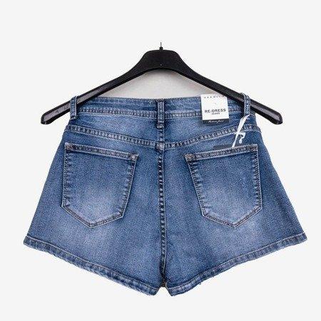 Синие джинсовые шорты с высокой талией - Одежда