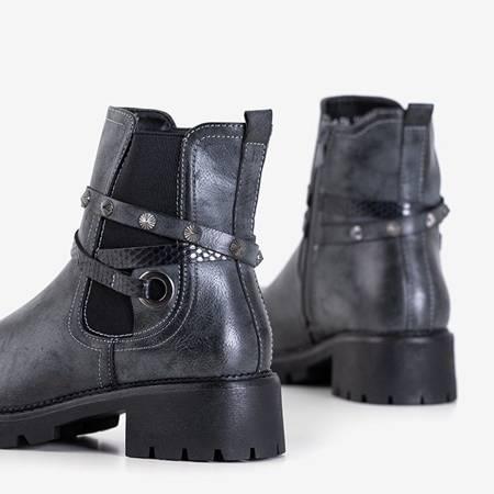 Темно-серые женские сапоги с ремешками Via - Обувь