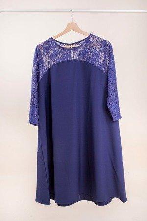 Темно-синее платье с кружевной отделкой PLUS SIZE - Одежда