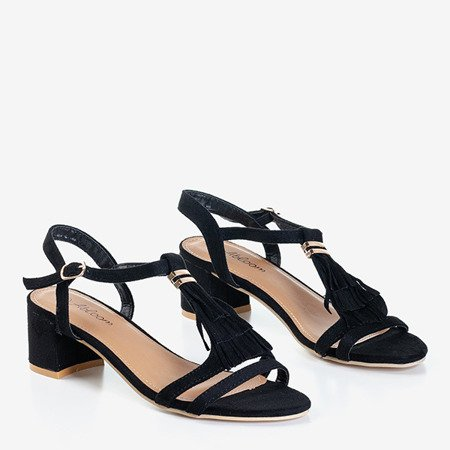 Черные сандалии на низкой стойке с бахромой Torri - Обувь