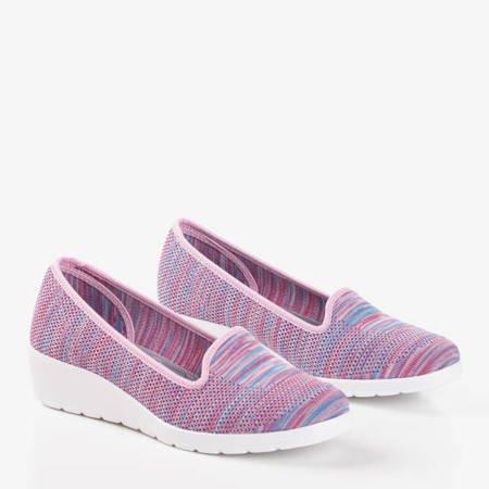 женские мокасины Torkia розовые на низкой танкетке - Обувь