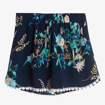 женские темно-синие шорты с цветочным принтом - Одежда