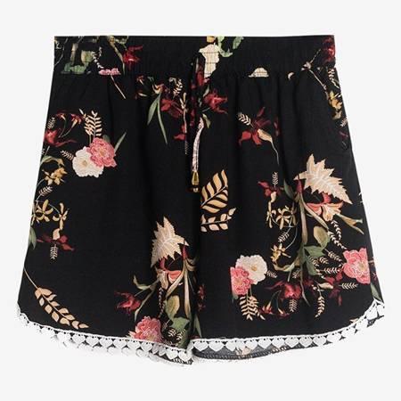 женские черные шорты с цветочным принтом - Одежда