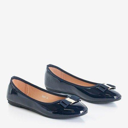 лакированные балетки темно-синего цвета с бантом Marco - Обувь