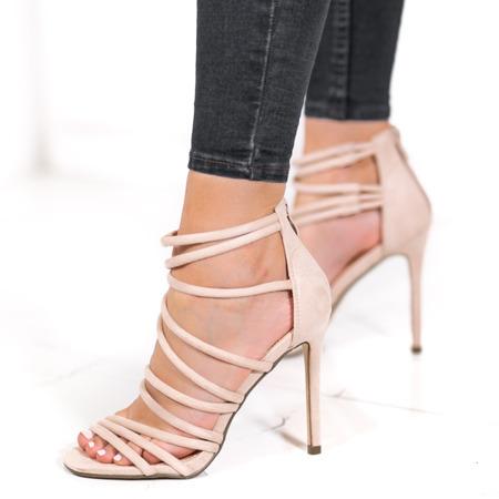 Beżowe sandały na szpilce Damien - Obuwie