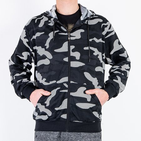 Черная мужская толстовка с камуфляжным принтом - Одежда