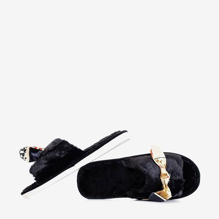 Черные женские тапочки из меха Worren - Обувь