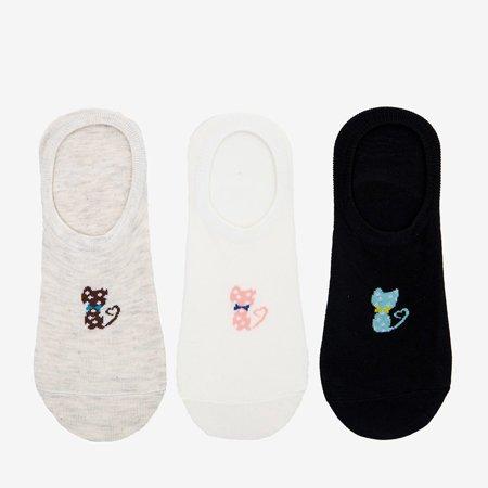 Цветные женские носки с кошачьим принтом 3 / упаковка - Socks