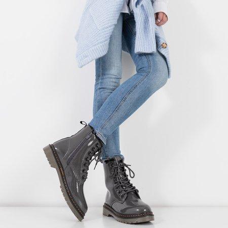 Лаковые женские сапоги темно-серые Lesita - Туфли