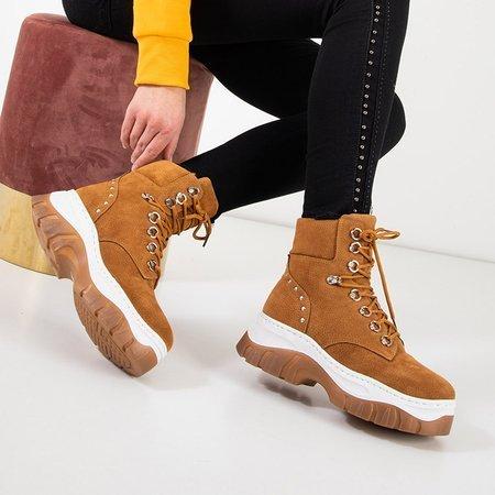 Светло-коричневые женские теплые сапоги на платформе Kazumi - Обувь