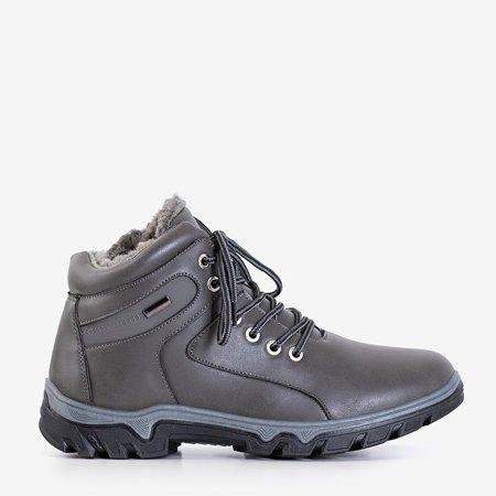 Утепленные мужские треккинговые ботинки темно-серого цвета Hurad - обувь