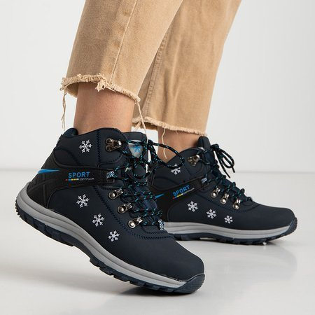 Зимние женские утепленные ботинки темно-синего цвета с декором Aliza - Обувь