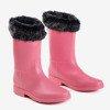 Розовые матовые резиновые сапоги с мехом Гуми - Обувь