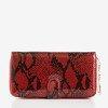 Czerwony duży portfel ze skóry ekologicznej z pikowanym wykończeniem- Portfel