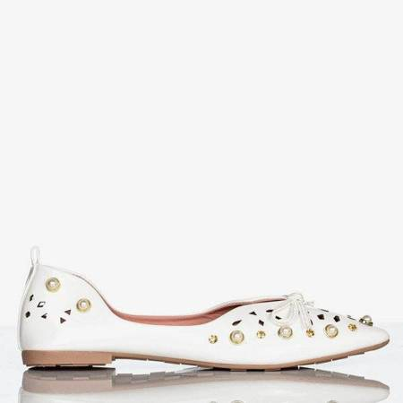 Балетки білого кольору з прикрасами Lil - Взуття 1