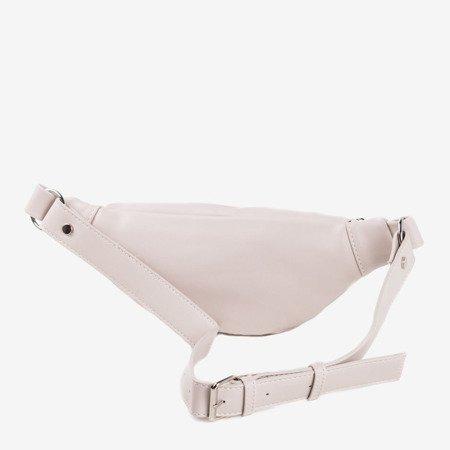 Бежева маленька сумка для нирок із срібними деталями - Сумочки